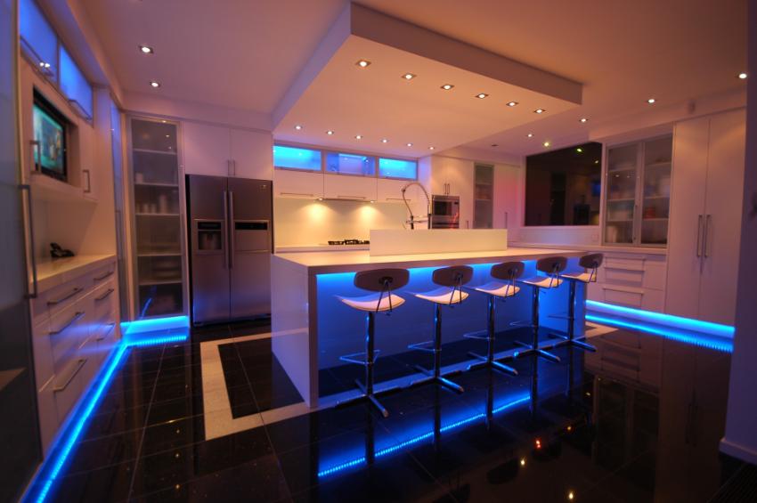 Keuken met verlichting